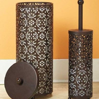 Toilet Paper Holder & Brush Set Metal Scroll Filligree Chocolate Brown Storage