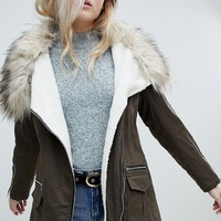 New Look Fur Lined Short Parka at asos.com