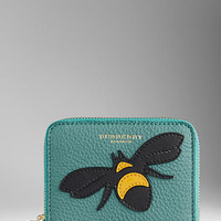 Bee Motif Leather Small Ziparound Wallet