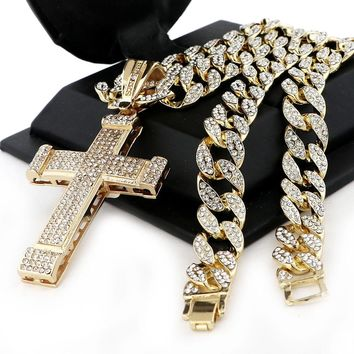 "Men Iced Out Large Cross Pendant 30"" Heavy Iced Out Cuban Link Chain NN040G"