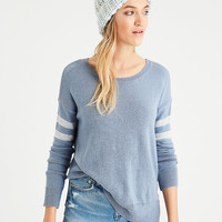 AE Step-Hem Sweater, Light Blue