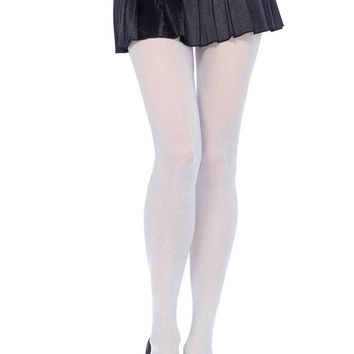 Silver Glitter Tights in OS