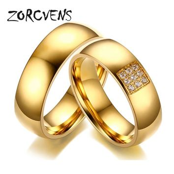 ZORCVENS 2017 Simple Wedding Rings for Women Men Elegant AAA CZ Stones Gold-color Ring Alliance Promise Engagement Band Gift