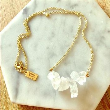 14k Quartz Crystal Necklace