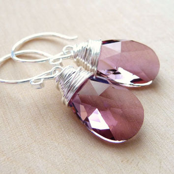Pink Swarovski Crystal Dangle Earrings, Antique Pink Swarovski Crystal Briolette Drops, Sterling Silver, Wire Wrapped, Under 25