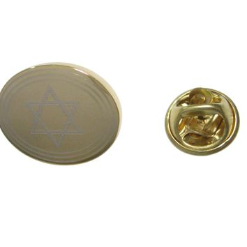 Gold Toned Etched Oval Religious Star of David Lapel Pin