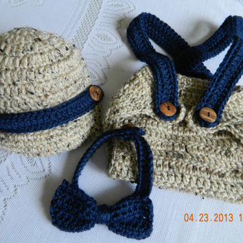 Preppy little executive, 3 pc. Suspender diaper cover set/hat/bow tie/crocheted/photo shoot prop/FREE SHIPPING/Toddler/Infant/Newborn