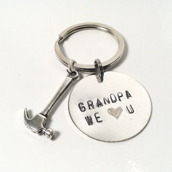 Grandpa Keychain We Love You Hammer Charm Silver Grandfather Custom Personalized DIY Men Man Dude Guy Family Funny Papa Fathers Day Gift