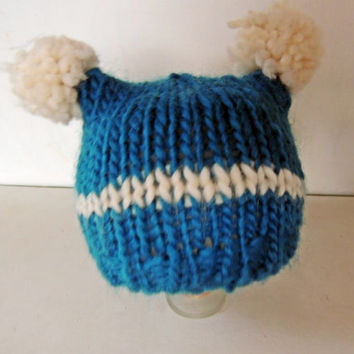 Knit Photo Prop Square Wool Hat Pom Poms // wool, stripe blue, photography prop, newborn, shower gift, baby