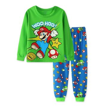 Super Mario party nes switch 2018 New Casual Cartoon Cotton  Bros Children's Sets Boys Tops Pants Long Sleeves Pants Kids' Clothing Pajamas Sets AT_80_8
