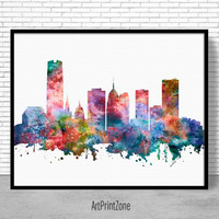 Oklahoma City Skyline, Oklahoma City Print, Oklahoma City Oklahoma, City Skyline Prints, Skyline Art, Cityscape Art, ArtPrintZone