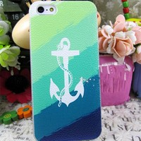 Lewire Anchor Stripes Printed Phone Case For iPhone 4/4S 0630J102 Big White Anchor