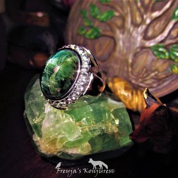 Antique AAA+++ Cats Eye Emerald Green Tourmaline Ring with Fire White Natural Topaz - Balance, Equality, Negative Repel, Awakening, Love