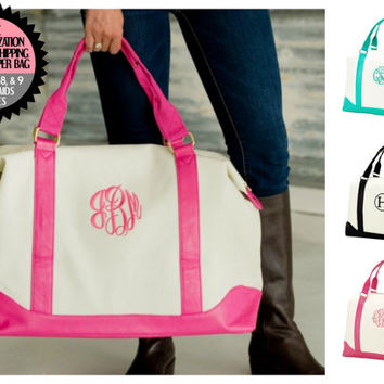 12% Off Sets of 7,8, or 9 Personalized Canvas and Leather Like Weekenders Bridesmaids Gifts Bundles Free Shipping and Monogramming