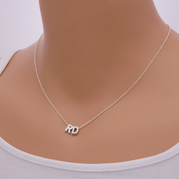 Initial Necklace (TWO letters) in Sterling Silver Chain / N013S