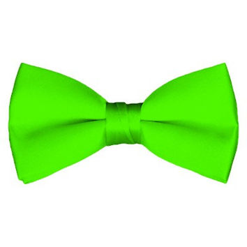 Solid Pre-Tied Lime Green Bow Tie