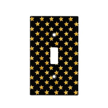 Black and Gold Stars Pattern Switch Plate Covers