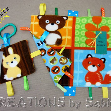 Baby Gift Set: Sensory Tag Blanket & Crinkle Toy / Woodland Animals / Rabbit Bunny Bear / Blue Brown / Forest Nature / READY TO SHIP (176)