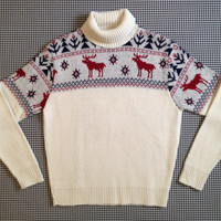 1970's, off white, turtleneck sweater, with maroon moose, and navy blue tree and snowflake designs