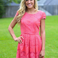 Lace Cap Sleeve Dress - Coral