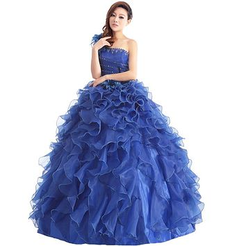 Suosikki Romantic 2016 Colorful Organza A line Beading Ruched One Shoulder Quinceanera Dresses Beautiful Party Vestidos