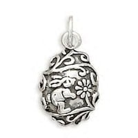 Silver Egg Charm With Bunny and Flowers