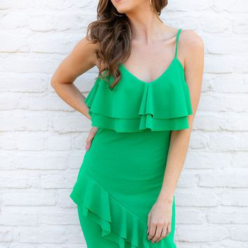 Let's Get Away Kelly Green Ruffle Dress