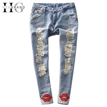 2014 Hot Trend Women's Jean Pants Red Lips Washed Ripped Denim Skinny Calca Jeans Feminina Free Shipping WKN089