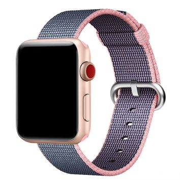 Hailan Band for Apple Watch Series 1 / 2 / 3,Fine Woven Nylon Wrist Strap Replacement with Classic Buckle for iwatch,38mm,Lightpink and Midnightblue