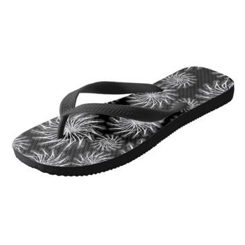 Black and Silver spinning stars pattern flip flops