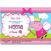 Peppa Pig Princess Birthday Kids Birthday Invitation Party Design