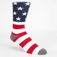 Blue Crown American Flag Mens Crew Socks Red/White/Blue One Size For Men 26246294801