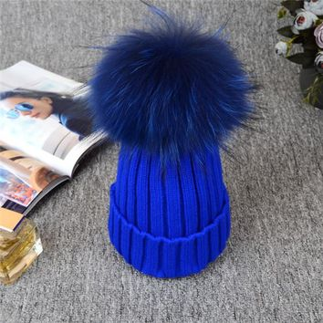Absolutely Gorgeous Russian Knit Pompom Winter Beanies. 12CM Silver Fox Fur Ball. Fabulous Quality, Warm!