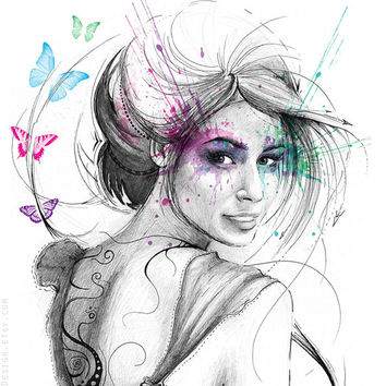 Art, Beautiful Butterflies, Feminine Illustration - Giclee Print, Portrait, 5x7