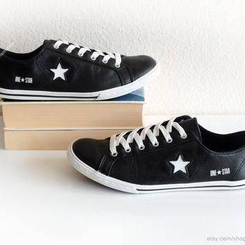 black leather converse one star low tops vintage leather sneakers black trainers wit