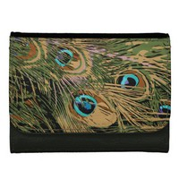Stylized Peacock Feathers Leather Wallet For Women