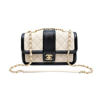 Chanel Beige Leather Black Trim Flap Bag