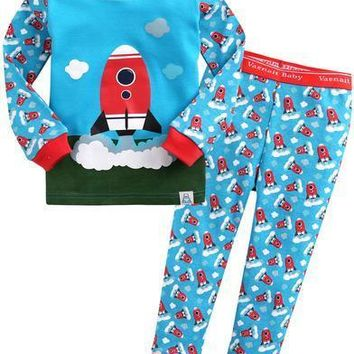 Vaenait Baby Cloud Rocket  Long Sleeve Pajama Set