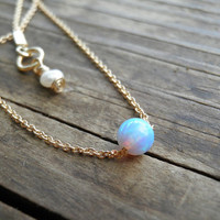 Opal Necklace, Tiny One 4mm Blue Opal Necklace, 14K Gold Filled Necklace, Bridesmaid gift Opal Jewelry, Minimalist Pendant Delicate Necklace