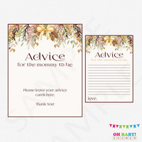 Fall Baby Shower Advice for Mommy to Be, Baby Shower Advice Cards & Sign Advice for Mom Boho Baby Shower Floral Rustic INSTANT DOWNLOAD FF01