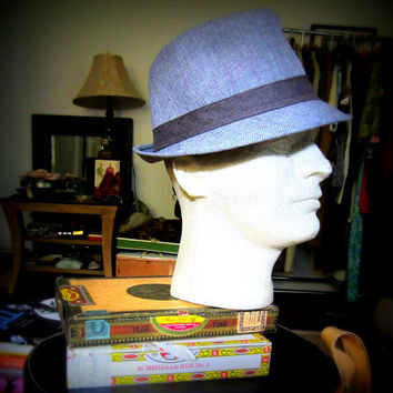 Rat Pack Hipster Hat - Sinatra Blue Linen Hat - Mens Vintage Accessories - FREE SHIPPING