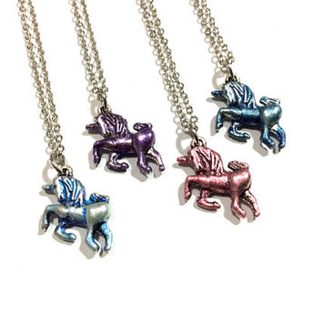 Unicorn Necklace: hand painted horned horse charm