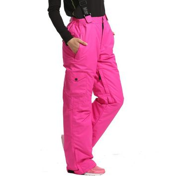 Snowboard Pants Female -30 degree snow pants with Straps Girls trousers winter outdoor Waterproof Breathable ski pants for women