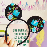 Black Minnie Mouse Ears with Embroidered Floral Detail Fashion Minnie Headband Disney Style Rapunzel Ears