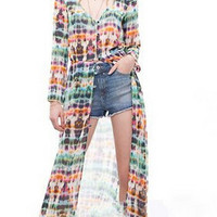 Printed Long Chiffon Dress