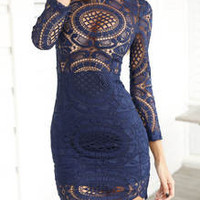 Navy Long Sleeve Hollow Lace Dress