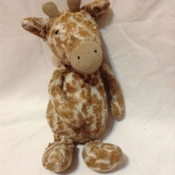 "Jellycat Plush Bashful Giraffe Brown Lovey Stuffed Animal 13"" baby cuddle"