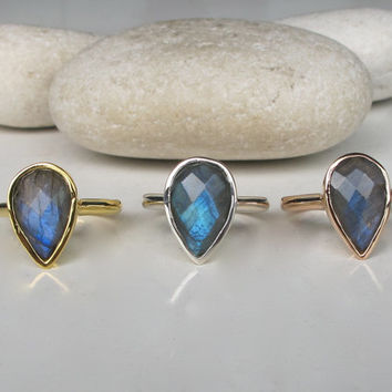 SALE Pear Shaped Labradorite Ring- Anniversary Ring- Gemstone Ring- Stone Ring- Faceted Ring- Bezel Ring- Gifts for Her-