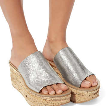 Camille Metallic Wedge Mules