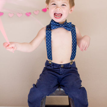 Little Boys Adjustable Suspenders - Toddler Suspenders, Cute for Weddings, Cake Smashing, Easter, Suspender & Bow Tie Set Also Available